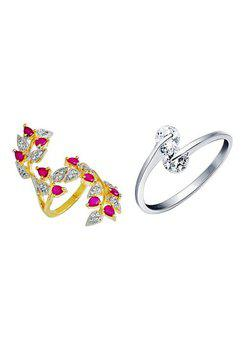 Aabhu CMB352 American Diamond Traditional Combo of 2 Party Wear Finger Rings Jewellery For Women And Girls