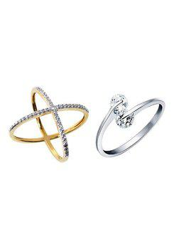 Aabhu CMB372 American Diamond Traditional Combo of 2 Party Wear Finger Rings Jewellery For Women And Girls