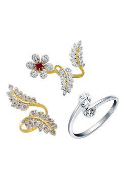 Aabhu CMB392 American Diamond Traditional Combo of 3 Party Wear Finger Rings Jewellery For Women And Girls