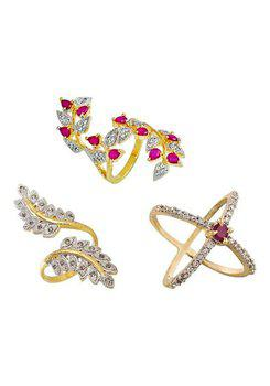 Aabhu CMB385 American Diamond Fancy Combo of 3 Party Wear Finger Rings Jewellery For Women And Girls