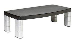 3M Extra Wide Adjustable Monitor Stand, Height 1 in to 5 7/8 in, Holds 40 lbs, 16 in Space Between Columns, Silver/Blk