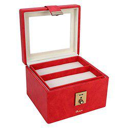 RICHPIKS Red Vanity Box/Makeup Box with handle and clasp lock and key