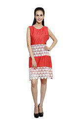 Anekaant Solid Cotton Coral Women's A-line Dress