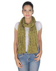 Anekaant Olive Green Solid Cotton Crinckled Scarf