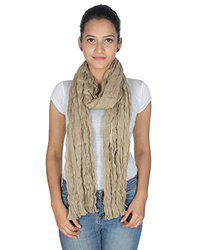 Anekaant Beige Solid Cotton Crinckled Scarf
