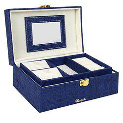Richpiks Small Travel Friendly Locker Friendly Jewellery Accessories Box Blue colour