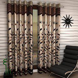 Home Sizzler Floral 2 Piece Eyelet Polyester Window Curtain Set - 5ft, Brown