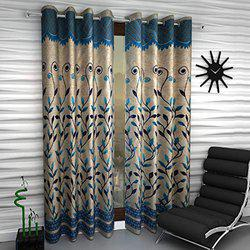 Home Sizzler Floral 2 Piece Eyelet Polyester Window Curtain Set - 5ft , Blue