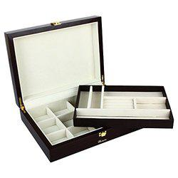 RICHPIKS Brown Polished Wooden 2 lavel Jewellery Box (PI 345)