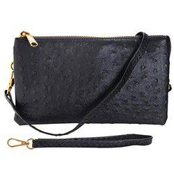 Humble Chic Vegan Leather Faux Ostrich Wristlet - Textured Dot Convertible Wallet Crossbody Bag Clutch Purse with Shoulder Strap, Black By Humble Chic Ny