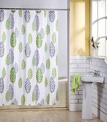 Skipper Leaves Floral PVC Shower Curtain - 6.5ft, Green and Grey