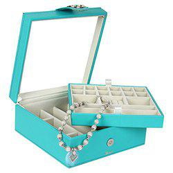 Richpiks Premium Collection two Layered Ring Earring Jewelry organization Box with Mirror Sea Green color (PI-424)