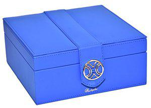 Richpiks Premium Collection two Layered Ring EarringJewelry organization Box with Mirror Sea Blue color(PI-417)