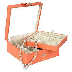 Richpiks Premium Collection two Layered Jewelry Ring Earring organization Box with Mirror Peach color(PI-423)