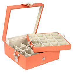 Richpiks Premium Collection two Layered Universal Jewelry organization Box with Mirror Peach color(PI-418)