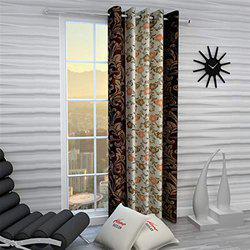 Home Sizzler Eyelet Polyester Window Curtain - 5ft, Brown