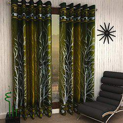 Home Sizzler Shalimar Frill Panel 20 2 Piece Eyelet Polyester Window Curtain Set - 5ft, Green