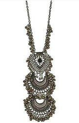 Aabhu Afghani Designer Turkish Style Oxidised German Silver Chandbali Necklace Pandent Jewellery Set For Girls & Women