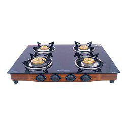 Wonderchef Eco Star Glass 4 Burner Gas Stove, Black