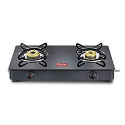 prestige Magic LP Gas Stove gtmc 02 with Powder Coated Body Glass Glass top, 2 Burner Brass Burner