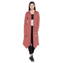 Hypernation Rust Color Cotton Long Shrug for Women(HYPW02365)