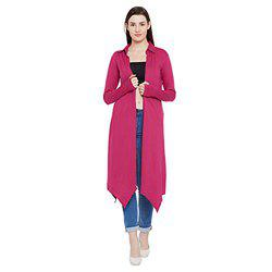 Hypernation Fuschia Color Cotton Long Shrug for Women(HYPW02360)