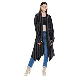 Hypernation Black and Grey Stripe Cotton Long Shrug for Women(HYPW02358)