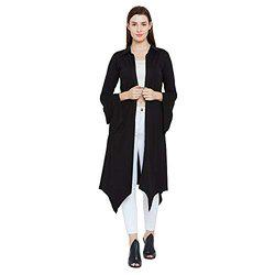 Hypernation Black Color Cotton Bell Sleeve Shrug for Women(HYPW02398)