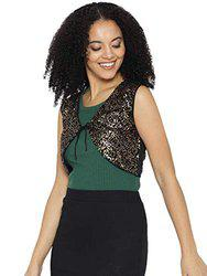 cottinfab Black & Golden Lace Sequinned Crop Tie-Up Shrug
