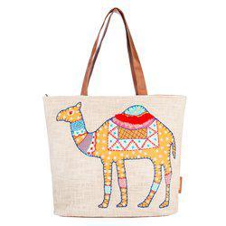 Camel Kantha Embroidered Tote Bag