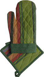 Adt Saral Green Cotton Kitchen Linen Set(Pack of 2)
