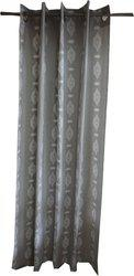 Adt Saral Cotton Grey Printed Eyelet Door Curtain(84 inch in Height, (7 ft), Single Curtain)