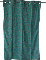 Adt Saral Cotton Blue Printed Eyelet Door Curtain(200 cm in Height, (6.4 ft), Single Curtain)