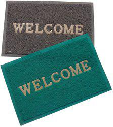 Home Fashion PVC Door Mat Home Fashion Green & Gray Welcome Plastic Medium Door Mat - set of 2(Green, Gray, Medium)