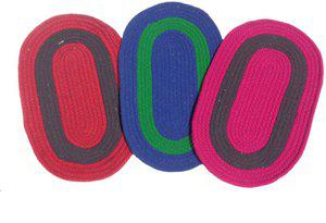 Home Fashion Cotton Door Mat Multicolor Cotton Oval Door Mat - Pack of 3(Multicolor, Medium)