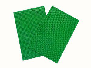 Home Fashion PVC Door Mat Green Leather Abstract Door Mat - Pack of 2(Green, Medium)