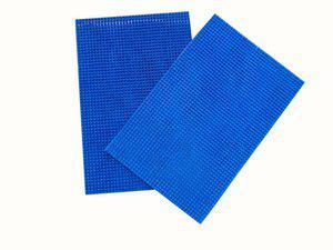 Home Fashion PVC Door Mat Blue Leather Abstract Door Mat - Pack of 2(Blue, Medium)