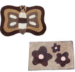 Home Fashion Microfiber Door Mat Home Fashion Brown Microfiber Modern Design set of 2 Door Mats(Brown, Medium)