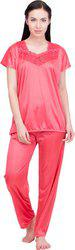 Lesuzaki Women's Solid Red Sleepshirt