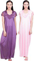 Lesuzaki Women's Nighty(Pink, Purple)