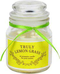 Khatte Meethe Desires Dome Jar Aroma Candle - Lemon Grass Candle(White, Pack of 1)