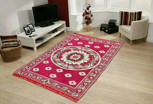 Home text Multicolor Velvet Carpet(150 cm  X 210 cm)