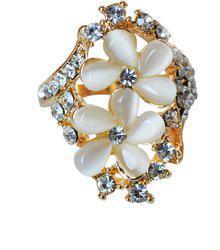 Aashya Mayro ALLURING CZ DIAMOND ROSE GOLD FLORA VALENTINE Brass Cubic Zirconia Rose Gold Plated Ring