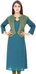 Anekaant Festive & Party Solid Women's Kurti(Green)