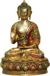 Brass Gift Center Buddha Statue Gold with Lacquer Showpiece  -  35 cm(Brass, Multicolor)