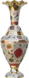 Brass Gift Center Brass Flower pot with Handwork Colour Brass Vase(15.5 inch, Multicolor)