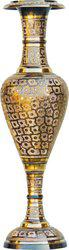 Brass Gift Center Brass Flower pot with Handwork Brass Vase(30 inch, Multicolor)