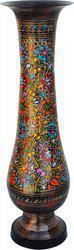 Brass Gift Center Brass Flower pot with Handwork Brass Vase(24 inch, Multicolor)