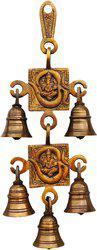Brass Gift Center Brass Latkan Double Om Bell Brass Pooja Bell(Yellow, Black, Pack of 1)