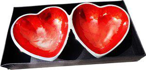 Brass Gift Center Two Pot Heart Tray with Enamel (Meena) work Aluminium Decorative Platter(Red, Silver)
